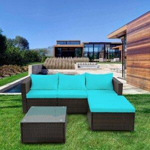 Courson 5 Piece Rattan Sofa Set with Cushions