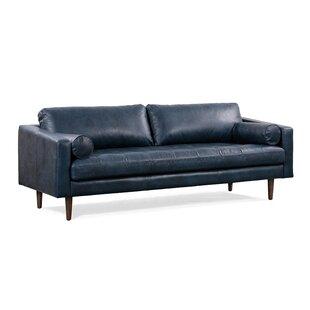 Dark Blue Leather Sofa | Wayfair