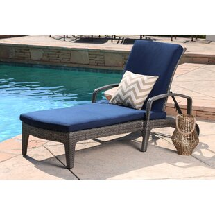 Ostrowski Outdoor Wicker Adjule Reclining Chaise Lounge