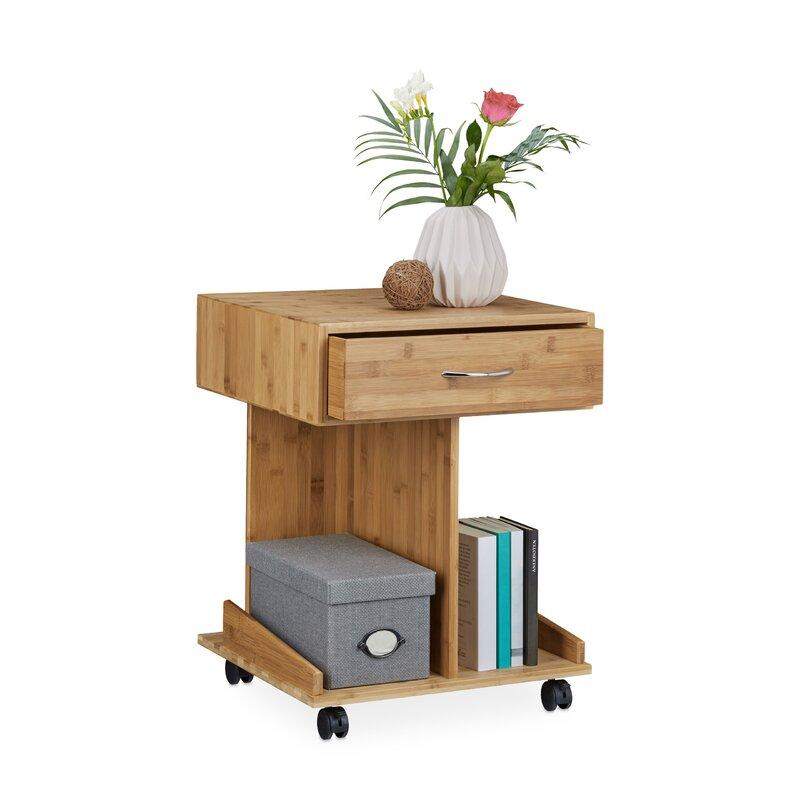 relaxdays beistelltisch rolli mit stauraum. Black Bedroom Furniture Sets. Home Design Ideas