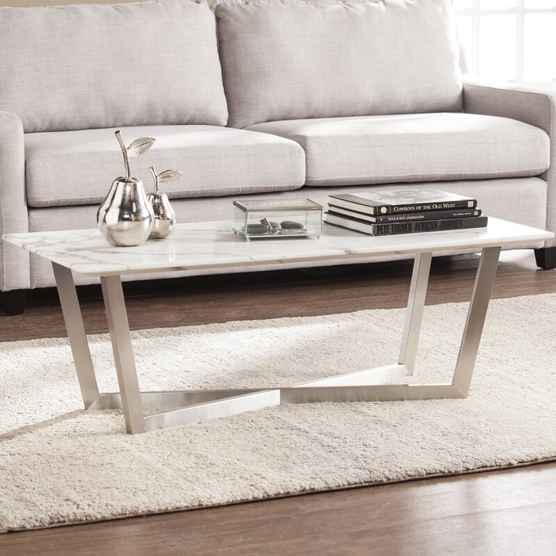 Faux Stone Coffee Table: Brayden Studio Rosenbalm Faux Marble Coffee Table