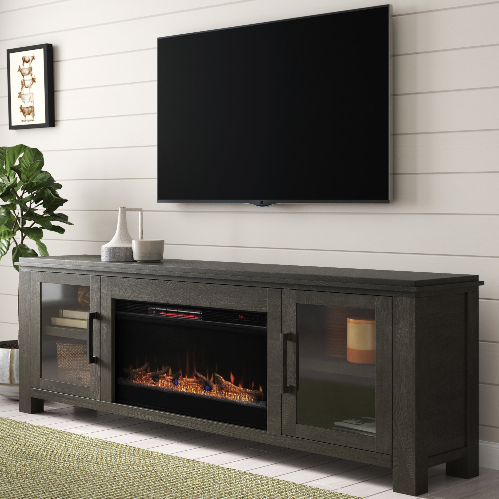 Gracie Oaks Cloyne Tv Stand For Tvs Up To 85 With Electric