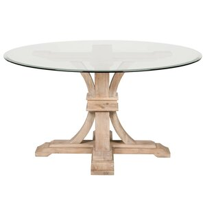 Round Glass Pedestal Dining Table pedestal kitchen & dining tables you'll love | wayfair