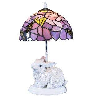 Waneesa Tiffany Style Purple And White Rabbit Lamp