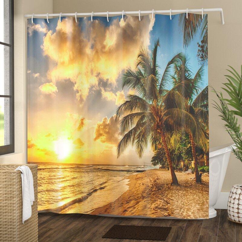 Tropical Exotic Sandy Beach Shower Curtain