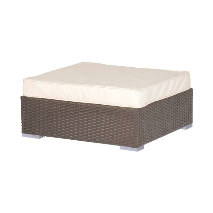 Square Rattan Outdoor Patio Ottoman With Cushion