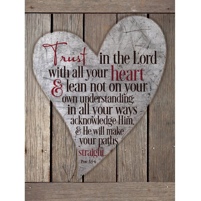 Trust In The Lord With All Your Heart New Horizons Textual Art Wood Plaque