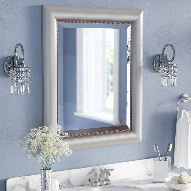 Rectangle Curved Silver Bathroom Wall Mirror