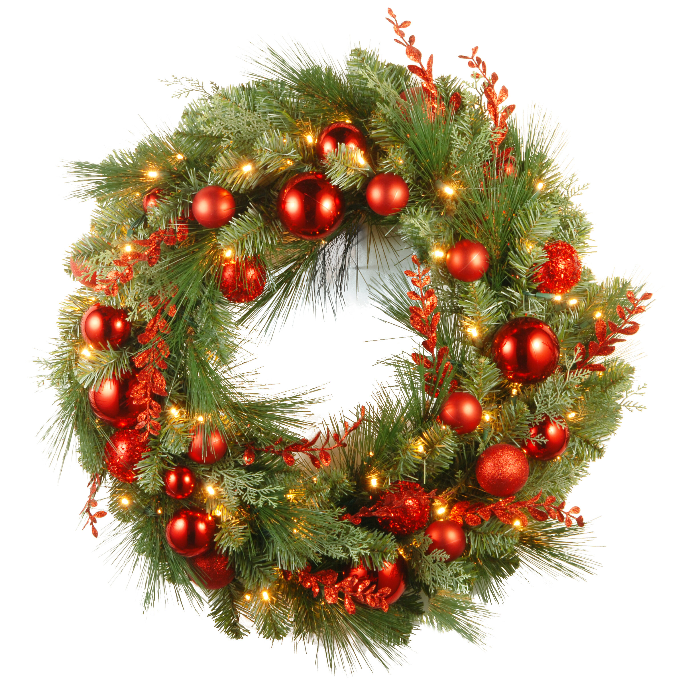 Pre Lit Christmas Mixed Wreaths With Battery Operated White Led Lights Reviews Birch Lane