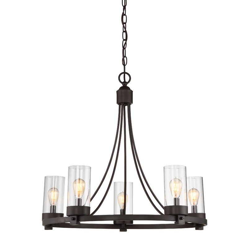 Wagon Wheel Light Chandelier: Laurel Foundry Modern Farmhouse Agave 5-Light Wagon Wheel