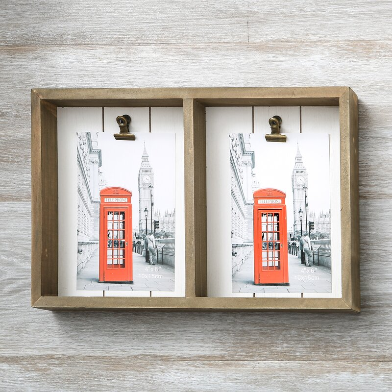 Highland Dunes Marigold Wood Double Box Picture Frame with 2 Clips ...
