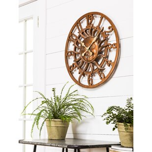 Pennside Oversized Sunface Outdoor 24 Wall Clock