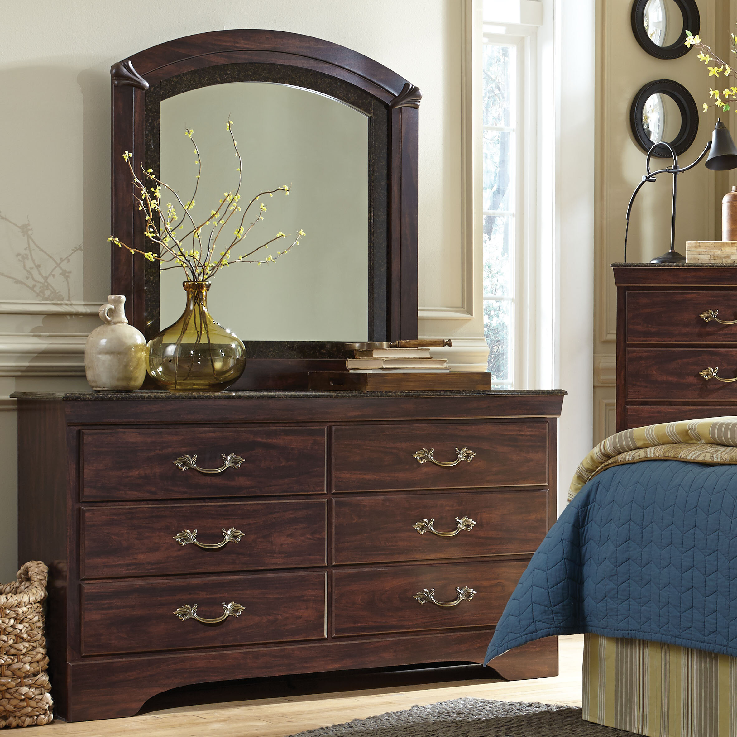 Three Posts Budde Solid Wood 6 Drawer Double Dresser With Mirror Wayfair