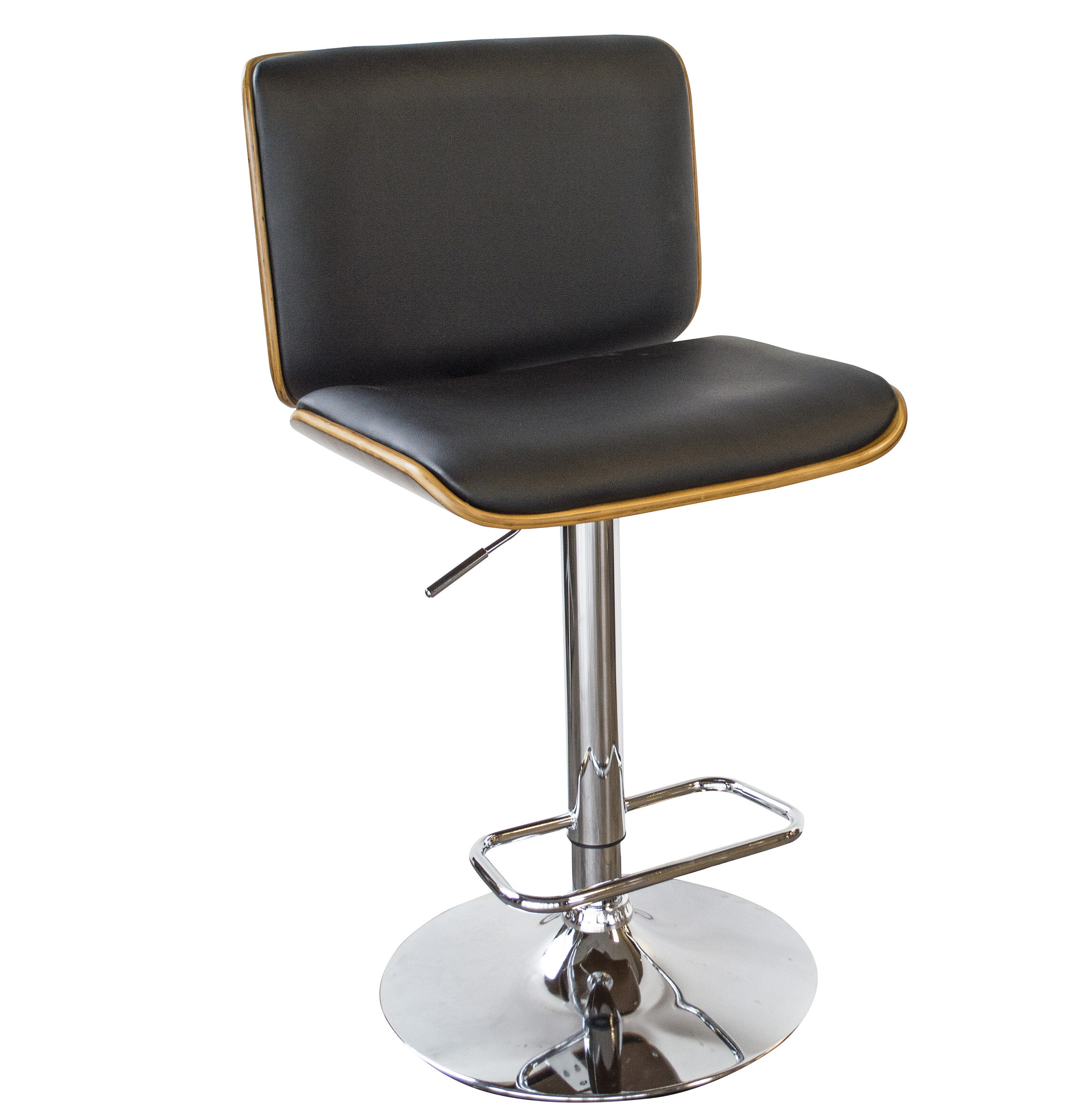 AmeriHome Bent Wood Faux Leather Adjustable Height Swivel Bar Stool |  Wayfair