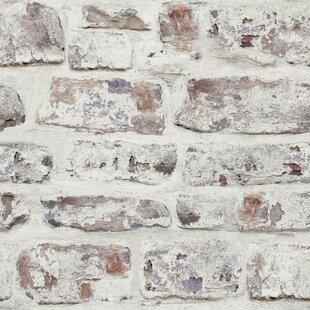 Alvara Whitewashed Wall White 335 X 22 Brick Wallpaper
