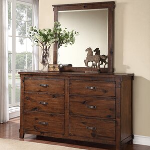 Camas 6 Drawer Double Dresser with Mirror by Loon Peak