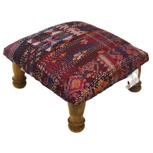 Kantha Stitched Ikat Ottoman by Divine Designs