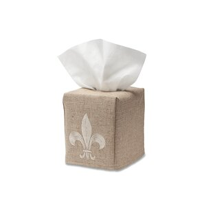 Bernier Fleur de lis Natural Linen Tissue Box Cover