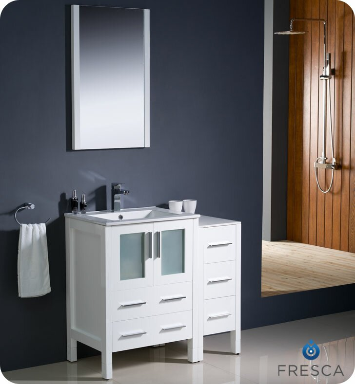 "Bathroom Vanity Modern fresca torino 36"" single modern bathroom vanity set with mirror"