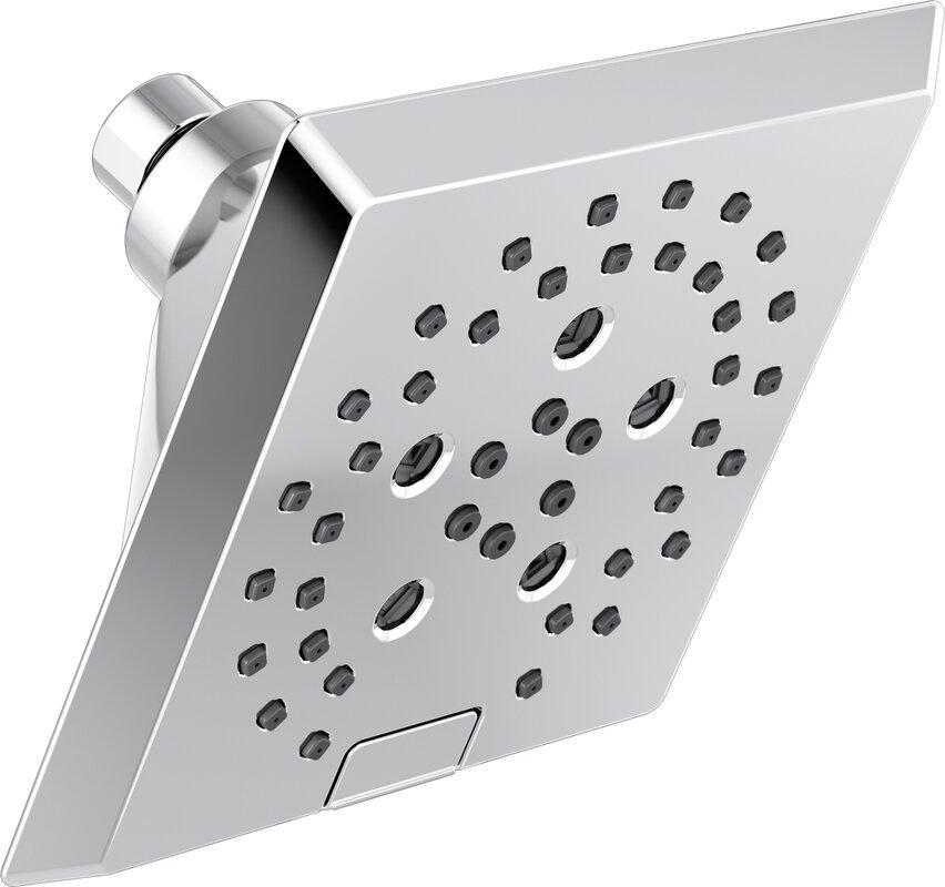 Delta Pivotal 5-Setting Angular Modern Rain Shower Head with ...