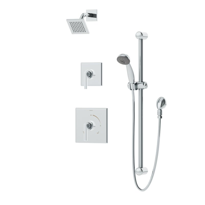 Merveilleux Duro 2 Handle Thermostatic Complete Shower System With Square Showerhead  And Lever Handle