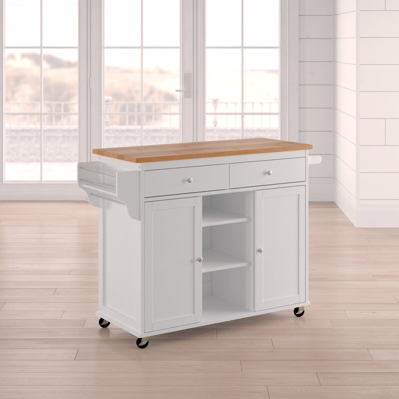 Wilson Modern Kitchen Island with Wood Top & Beachcrest Home Wilson Modern Kitchen Island with Wood Top u0026 Reviews ...