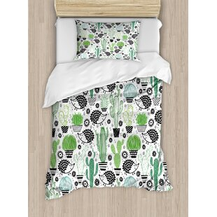Cactus Cartoon Inspired Drawing Of Cute Hedgehog Animals Saguaro And Ly Pear Duvet Set
