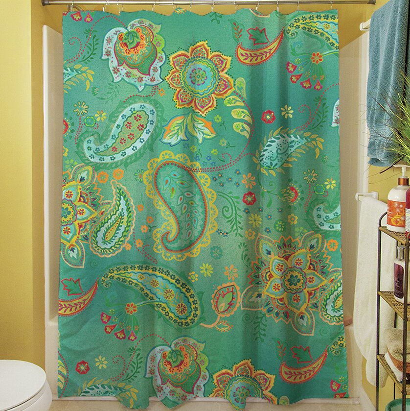Manual Woodworkers Weavers Aqua Bloom Paisley Shower Curtain Reviews