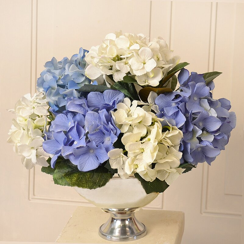 Floral Home Decor Silk Hydrangea Arrangement In Bowl Reviews