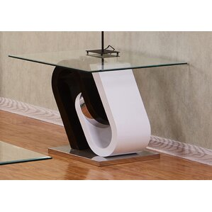 Brook Glass Top End Table by Orren Ellis