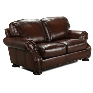 Ranold Leather Loveseat by Darby Home Co