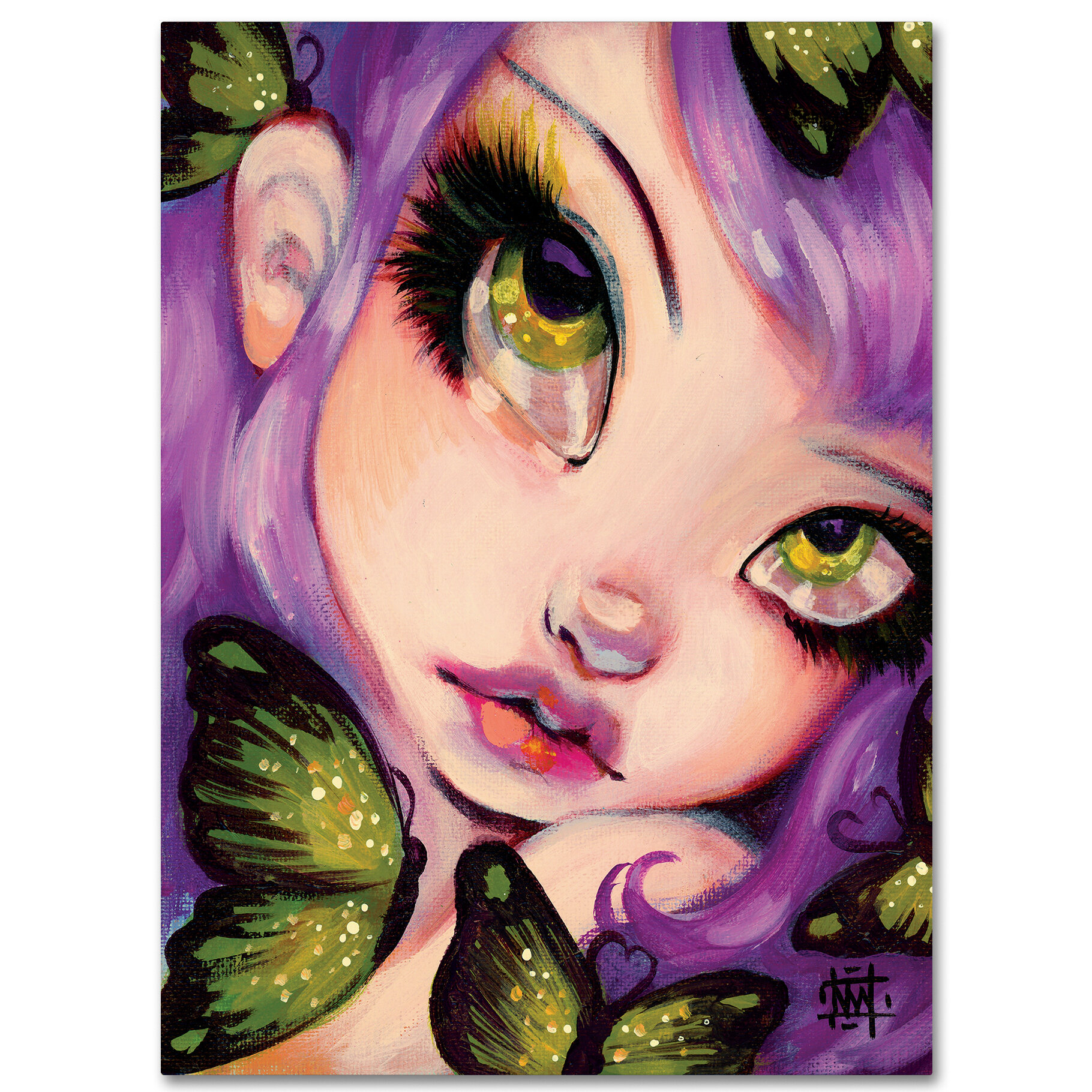 Bedroom Kandi Natasha Hall Home: Trademark Art 'Green Eyed Violet' Painting Print On