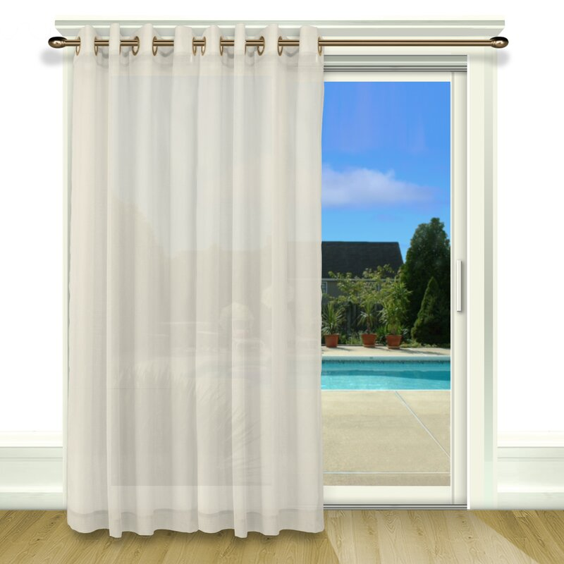 Bal Harbour Patio Solid Semi Sheer Grommet Single Curtain Panel