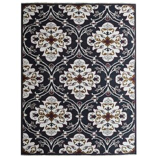 Affordable Creamer Sumak Floral Hand-Knotted Wool Black/White Area Rug By Darby Home Co