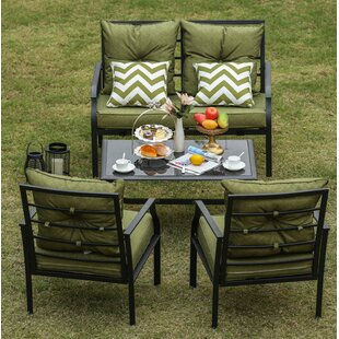 Eggleston 4 Piece Patio Conversation Set With Cushions
