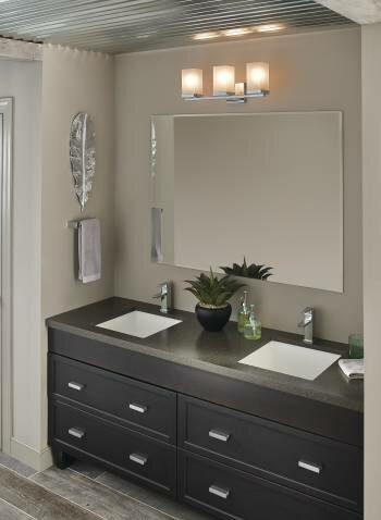 Bathroom Vanity Lights Reviews moen 90 degree 3-light vanity light & reviews   wayfair