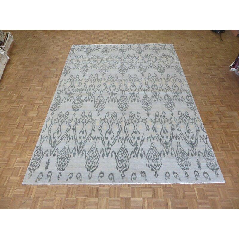 One-of-a-Kind Beaumont Ikat Hand-Knotted Wool Aqua Blue