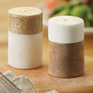 Bistro Marble And Wood Salt And Pepper Shaker Set