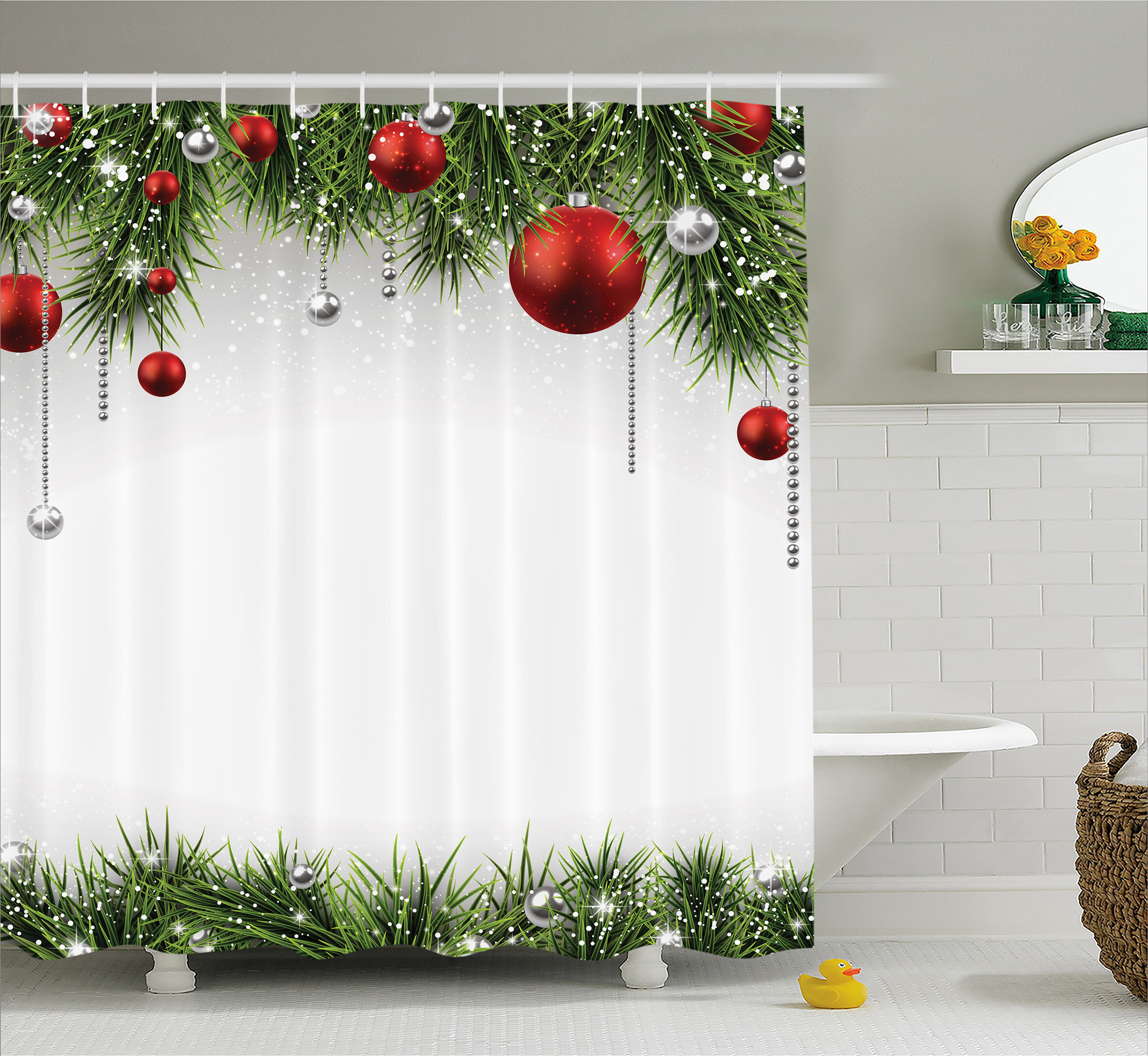 The holiday aisle christmas tree balls ornaments shower curtain reviews wayfair