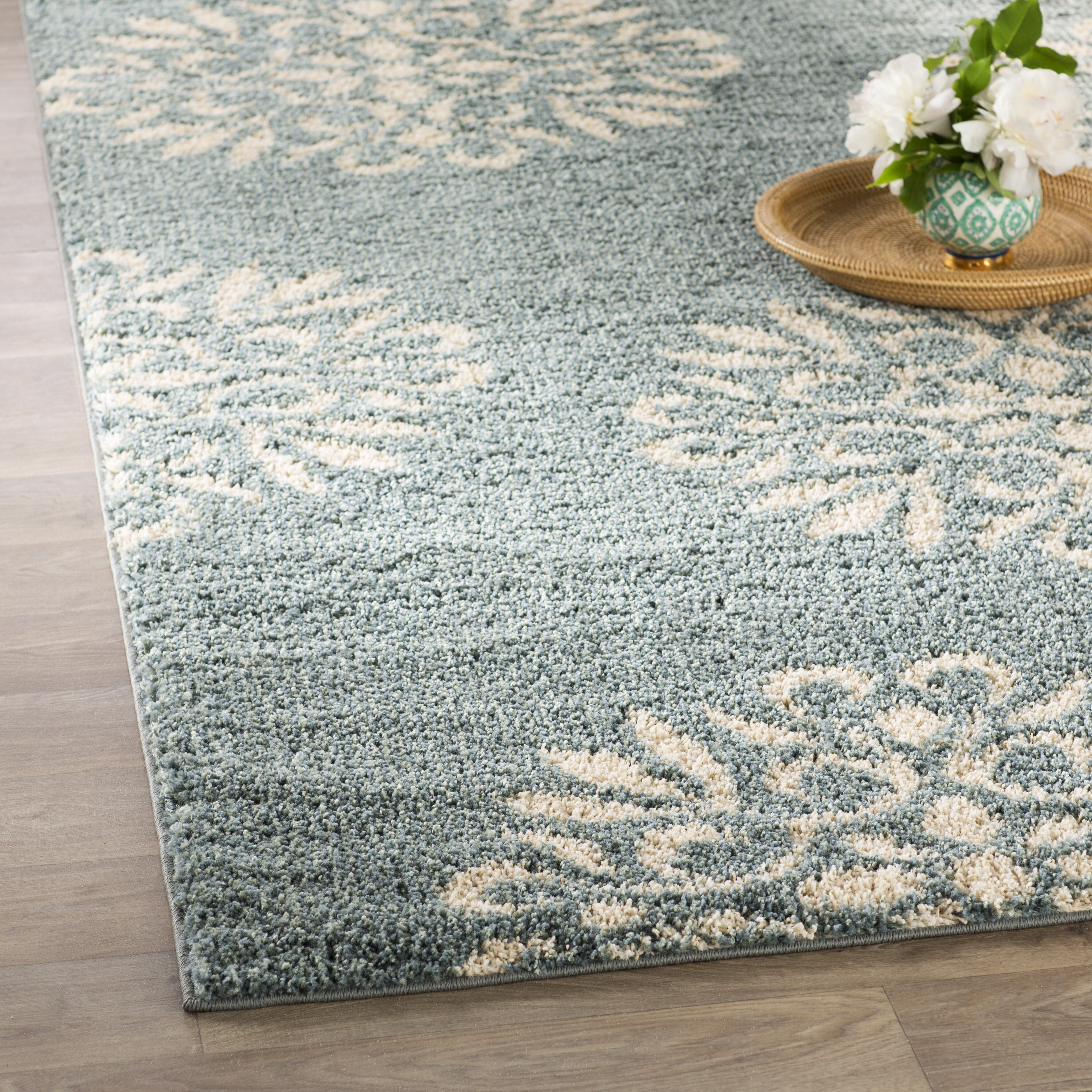 Charlton Home Cowden Exploded Medallions Woven Bay Blue Area Rug ...