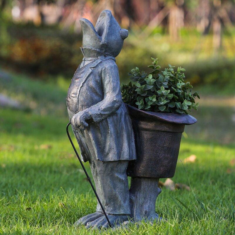 August Grove Lorenz Standing Frog Resin Statue Planter