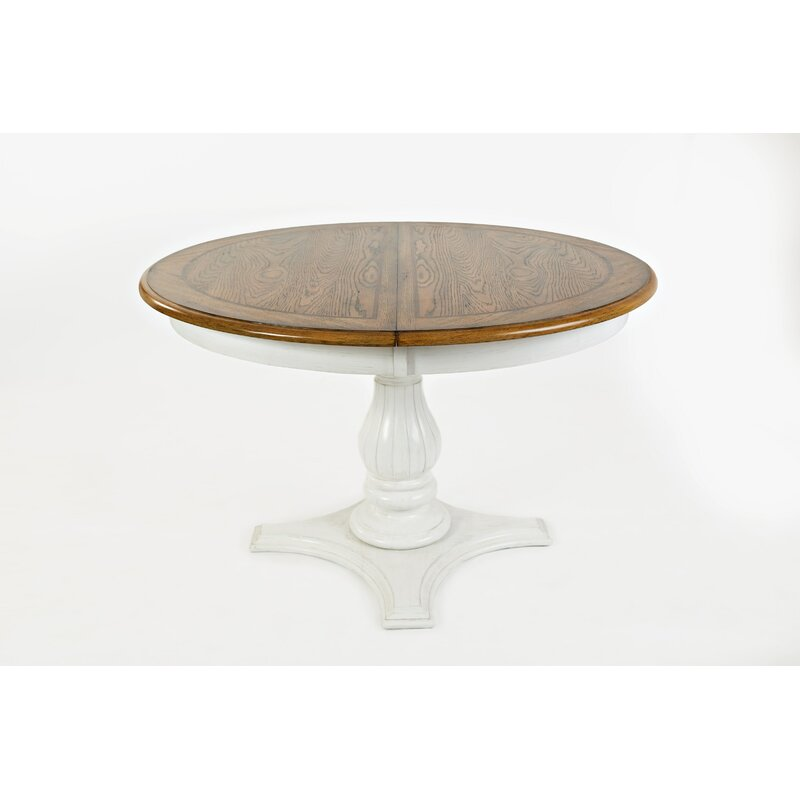 Ilene Round To Oval Convertible Extendable Solid Wood Dining Table