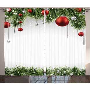 Christmas Decorations Classical Ornaments And Baubles Pine Tree Twig Tinsel Print Graphic Text Semi Sheer Rod Pocket Curtain Panels Set