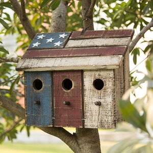 Patriotic Distressed Garden 10 in x 11.5 in x 5.5 in Birdhouse
