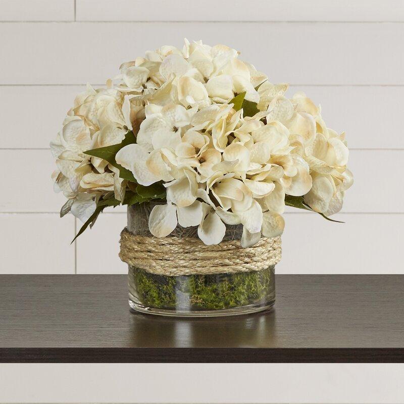 August Grove Hydrangea In Rope Glass Vase Reviews Wayfair