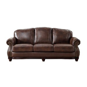 Mendenhall Leather Sofa by Three Posts