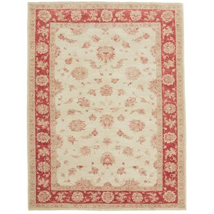 Futon Hand Knotted Wool Beige/Red Rug by Rosalind Wheeler