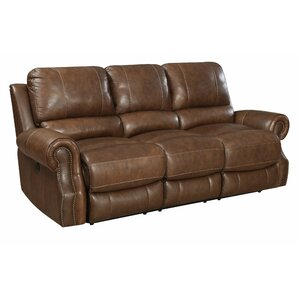 Crete Leather Reclining Sofa by Red Barrel Studio