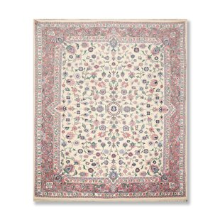 """One-of-a-Kind Ariton Traditional Persian Oriental Hand-Knotted 7'7"""" x 9'11"""" Wool Lavender/Black/Ivory Area Rug"""