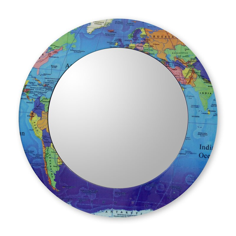 Novica around the world world map round mirror and frame crafted around the world world map round mirror and frame crafted by hand gumiabroncs Images